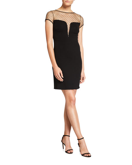 CDGNY Kinsley Studded Mesh Cocktail Dress