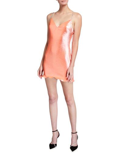 V-Neck Beaded Strap Lame Mini Dress