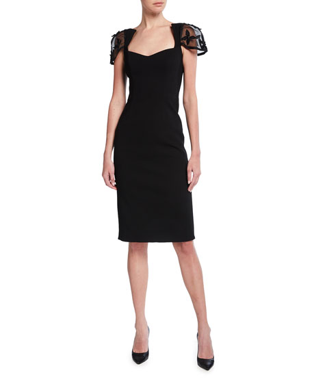Haney Connie Embroidered Cap-Sleeve Sheath Dress