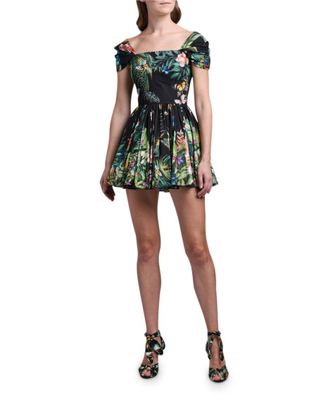 Dolce & Gabbana Cap-Sleeve Jungle-Print Mini Dress