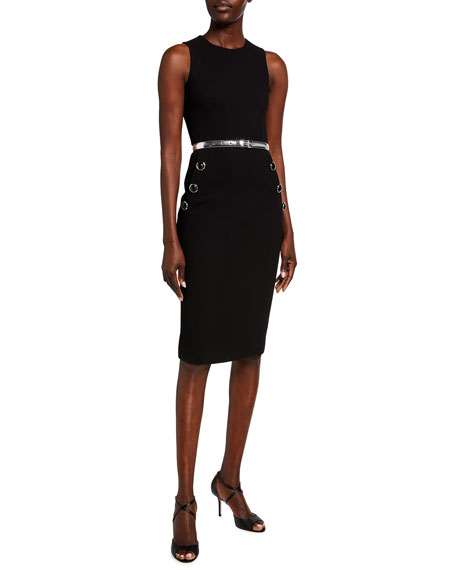 Michael Kors Collection Sleeveless Button Sheath Dress with Belt