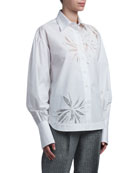 Ermanno Scervino Floral-Inset Cotton Oversized Shirt