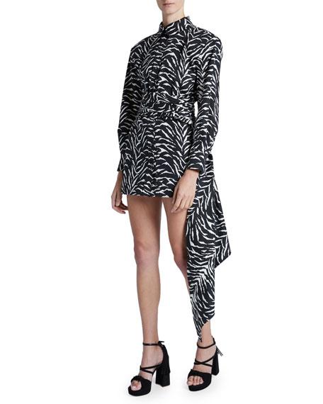 Redemption Mini Zebra-Striped Silk Sash Skirt