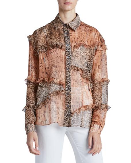 Redemption Ruffled Patchwork Menswear Shirt