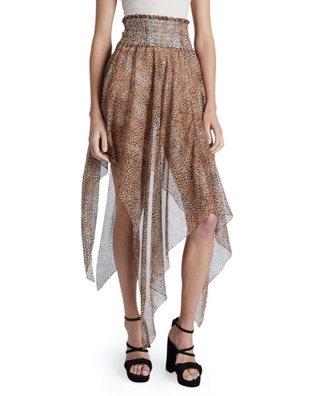 Redemption Leopard Print Asymmetric Knotted Skirt