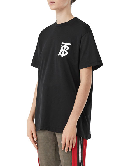 Burberry Emerson Oversized T-Shirt with TB Monogram, Black