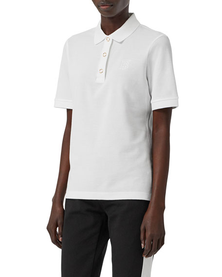 Burberry Femme-Fit Ring-Snap Cotton Polo Shirt, White