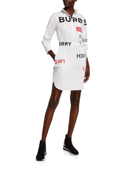 Burberry Kiley Horseferry Print Cotton Tie-Waist Shirtdress