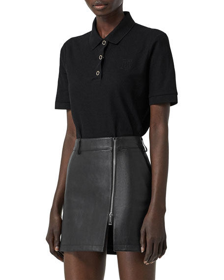 Burberry Femme-Fit Ring-Snap Cotton Polo Shirt, Black