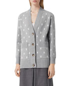 Burberry Palena Monogram Jacquard Wool-Cashmere Cardigan Sweater