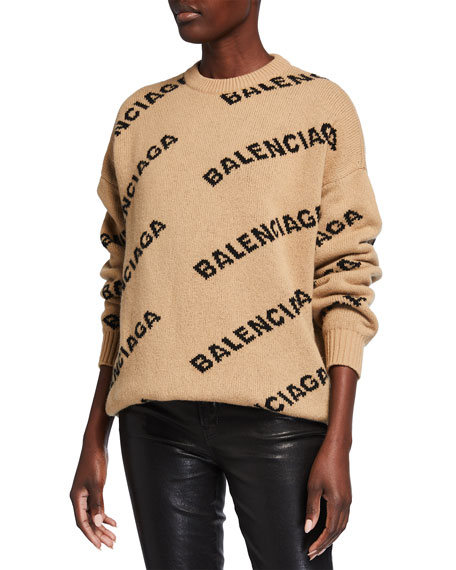Balenciaga Wool Logo Long-Sleeve Crewneck Sweater