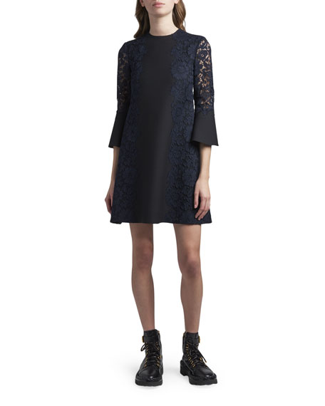 Valentino Lace 3/4-Sleeve Dress