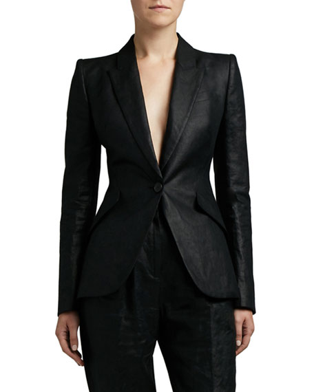 Alexander McQueen Shiny One-Button Blazer