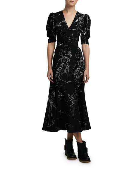 Alexander McQueen Dancing Girl Print Puff-Sleeve A-Line Dress