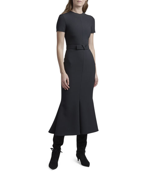 Valentino Crepe Belted Midi Dress