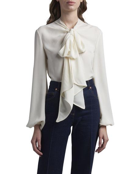 Valentino Silk Puff-Sleeve Tie-Neck Blouse
