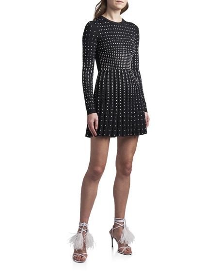 Valentino Long-Sleeve Studded Cocktail Dress