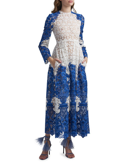 Valentino Long-Sleeve Embroidered Lace Maxi Dress