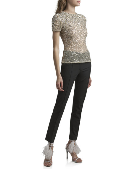 Valentino Sequined High-Neck Short-Sleeve Blouse