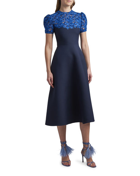 Valentino Lace Puff-Sleeve Midi Dress