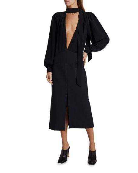 Givenchy Silk V-Neck Midi Dress