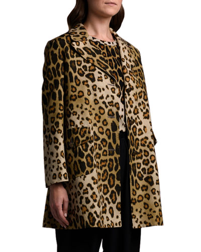 Leopard Silk-Cotton Coat