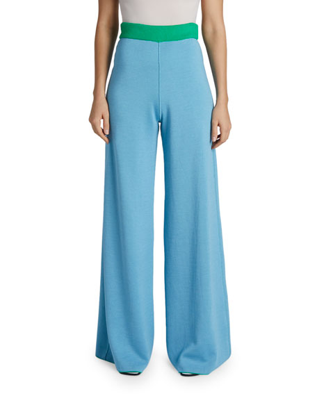Maison Ullens Cashmere-Silk Reversible Two-Tone Wide Leg Pants