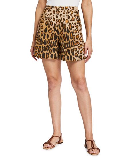 Etro Leopard-Print  Silk/Cotton Shorts