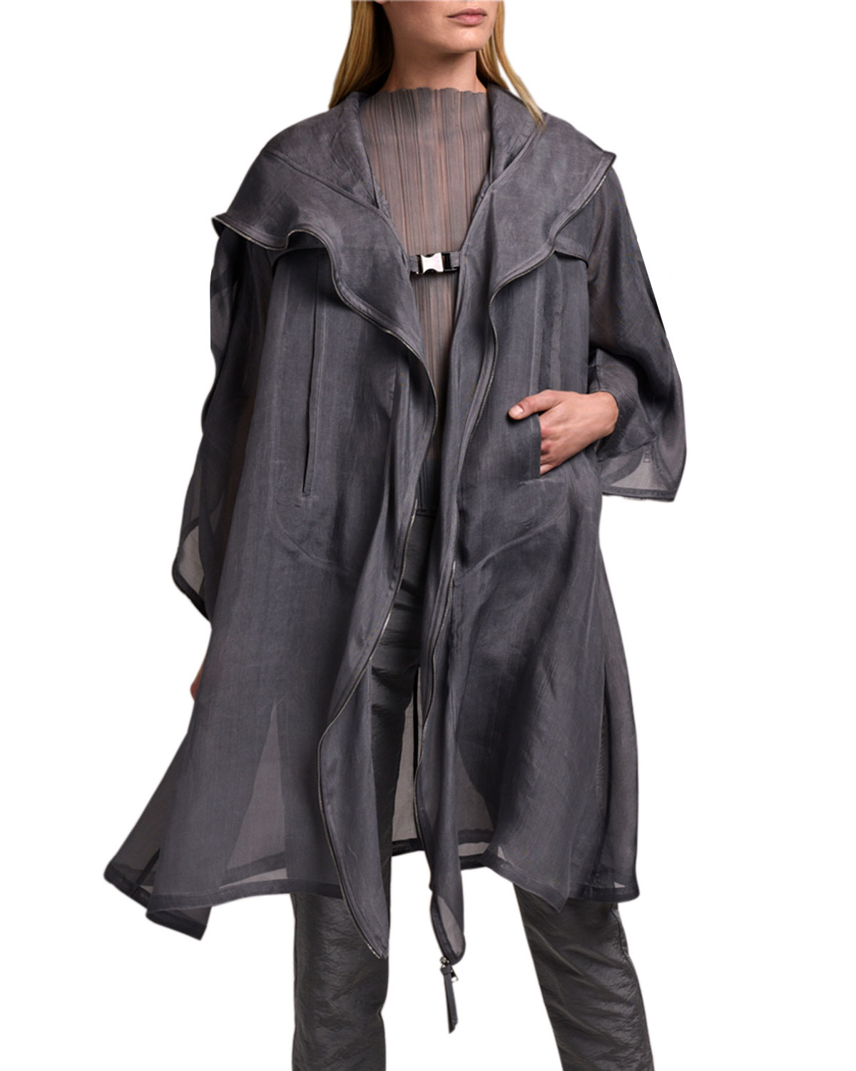 Washed Organza Jacket With Zipper Detail & Hood