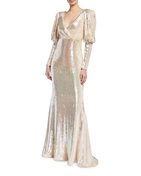 Badgley Mischka Couture Sequined Puff-Sleeve Gown