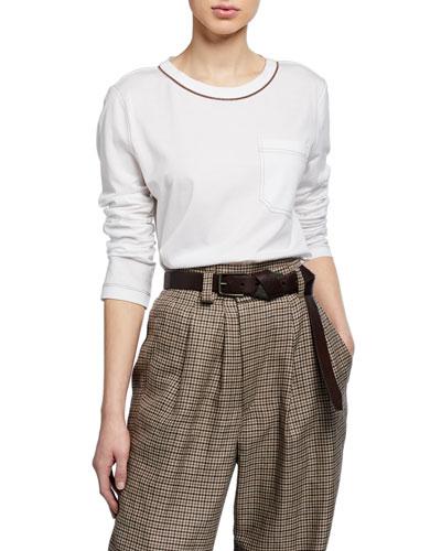 Monili-Beaded Cotton Jersey Long-Sleeve Tee