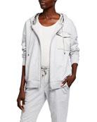 Brunello Cucinelli Satin-Trim Zip-Front Hooded Sweatshirt
