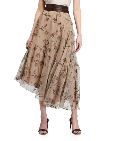 Brunello Cucinelli Floral-Embroidered Silk Asymmetric Skirt