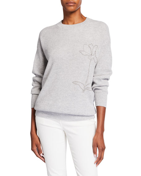 Brunello Cucinelli Ribbed Cashmere Sweater with Monili Floral Detail