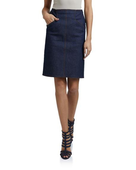 ALAIA Denim Knee Length Skirt
