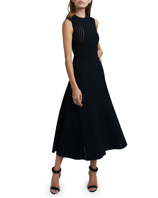 Sheer-Seamed A-Line Dress