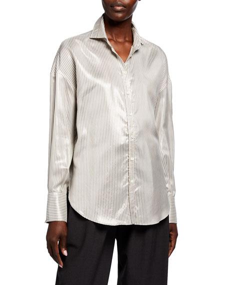 Brunello Cucinelli Striped Satin Shirt