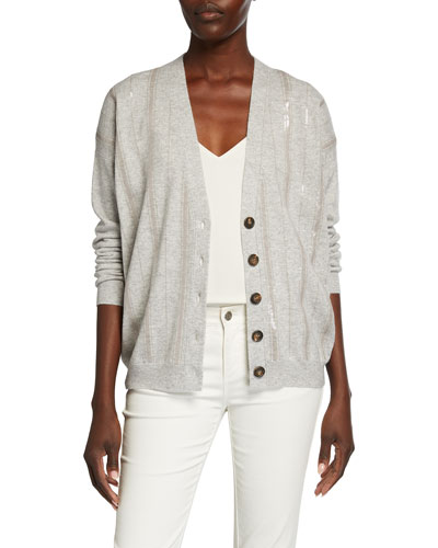 Sequined Cardigan Sweater | Neiman Marcus | Sequined Sweater