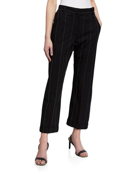 Brunello Cucinelli Monili-Pinstriped Tropical Wool Pants