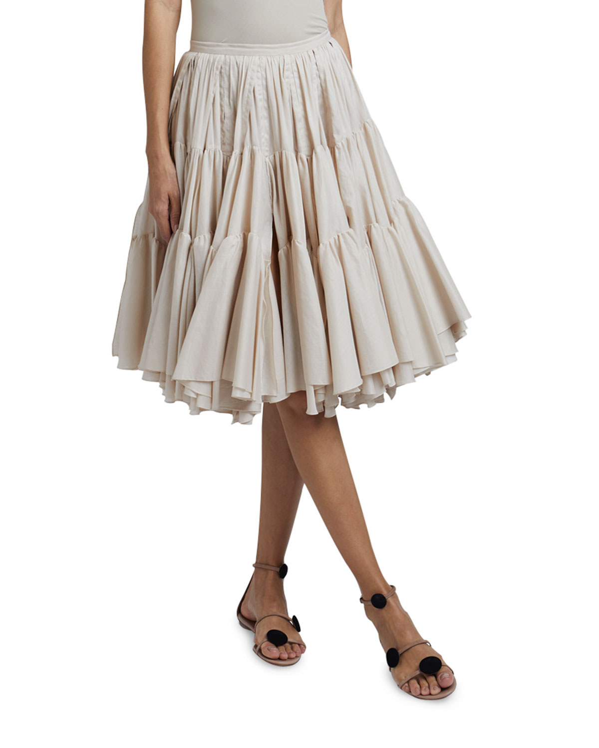 Tiered Pleated Cotton Skirt