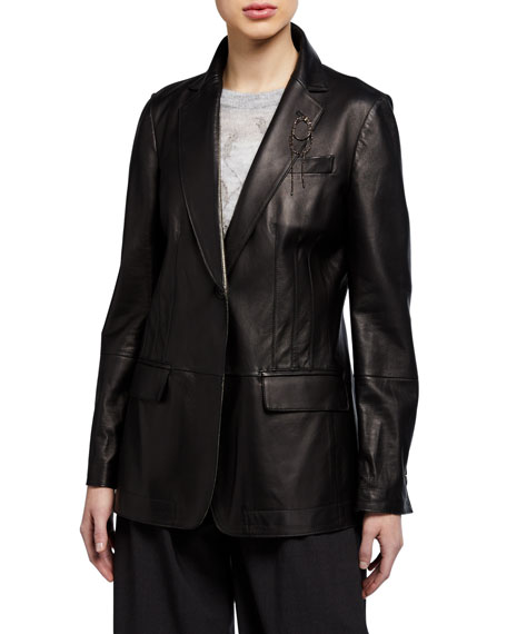 Brunello Cucinelli Leather Blazer Jacket with Monili Brooch