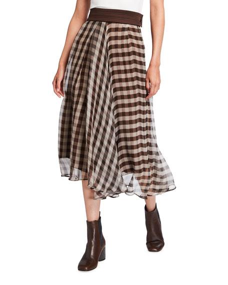 Brunello Cucinelli Asymmetric Gingham Silk Midi Skirt