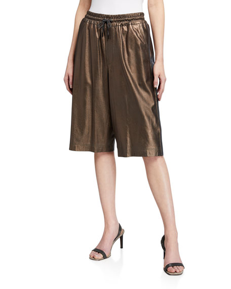 Brunello Cucinelli Metallic Leather Bermuda Shorts