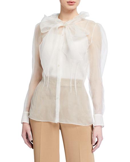 Ralph Lauren Collection Abigail Silk Bow Shirt