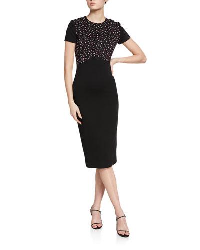 Floral Silk-Bodice Ponte Short-Sleeve Dress