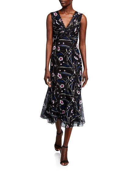 Jason Wu Collection Stem Floral Print Silk Dress