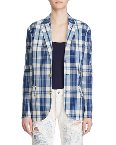 Ruthie Plaid Cotton Blazer Jacket