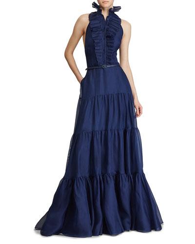 Emilia Frilled Silk Evening Gown