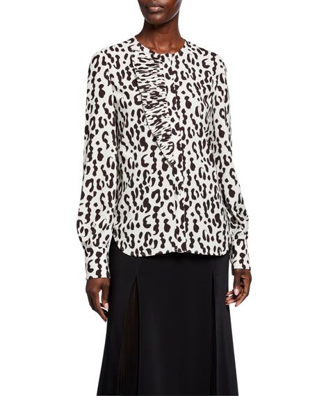 Jason Wu Collection Snow-Leopard Crepe Ruffled Shirt