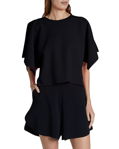 Compact Knit Short-Sleeve Top